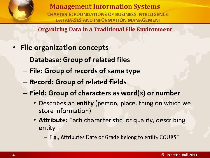 Management Information Systems CHAPTER 6: FOUNDATIONS OF BUSINESS INTELLIGENCE: DATABASES AND INFORMATION MANAGEMENT Organizing