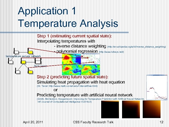 Application 1 Temperature Analysis Step 1 (estimating current spatial state): Interpolating temperatures with -