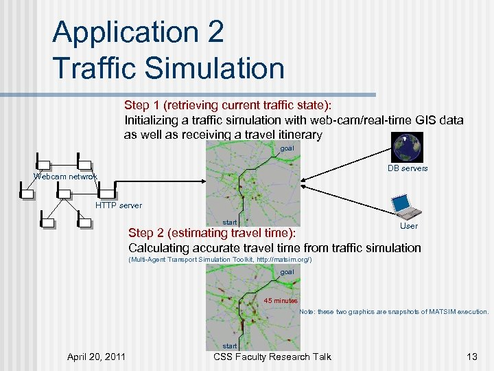 Application 2 Traffic Simulation Step 1 (retrieving current traffic state): Initializing a traffic simulation