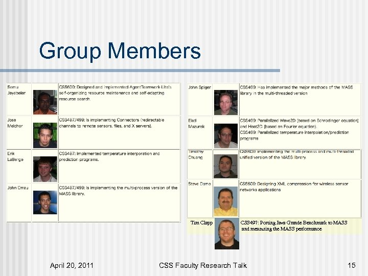 Group Members Tim Clapp April 20, 2011 CSS 497: Porting Java Grande Benchmark to