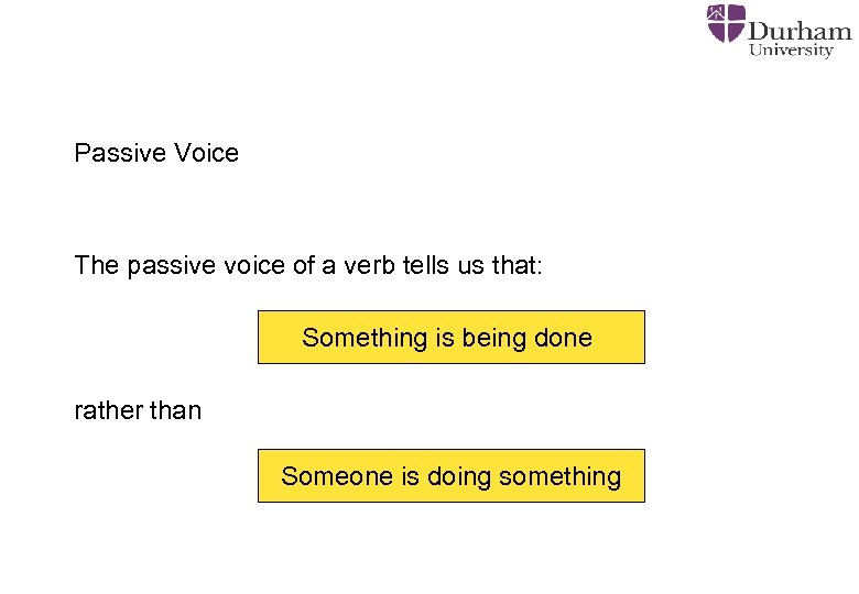 Passive Voice The passive voice of a verb tells us that: Something is being