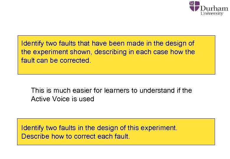 Identify two faults that have been made in the design of the experiment shown,