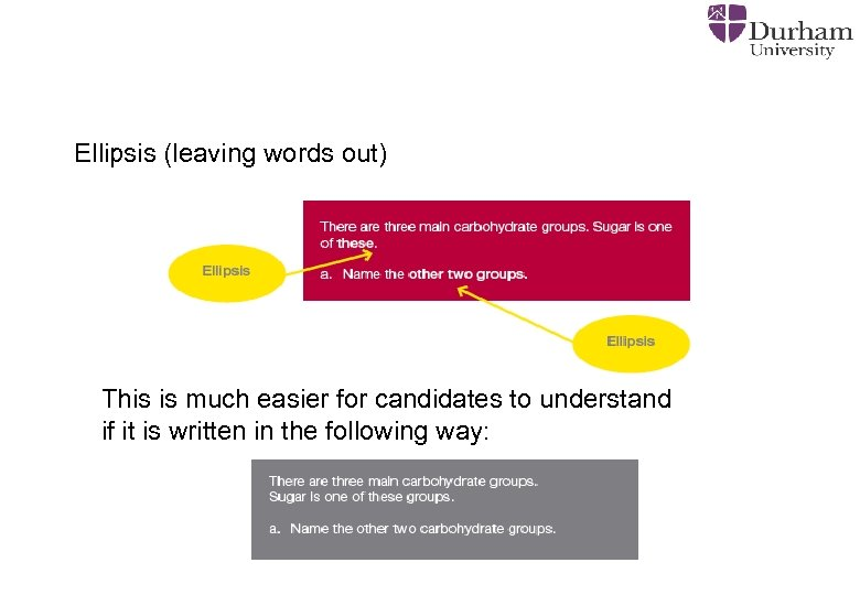 Ellipsis (leaving words out) This is much easier for candidates to understand if it