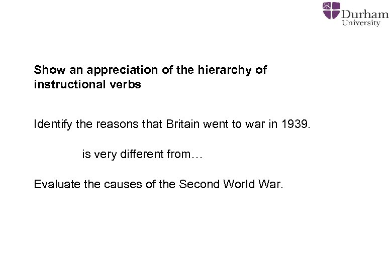 Show an appreciation of the hierarchy of instructional verbs Identify the reasons that Britain