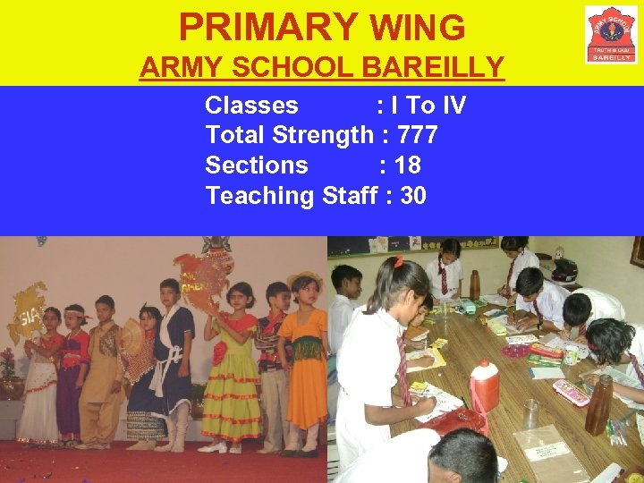 PRIMARY WING ARMY SCHOOL BAREILLY Classes : I To IV Total Strength : 777