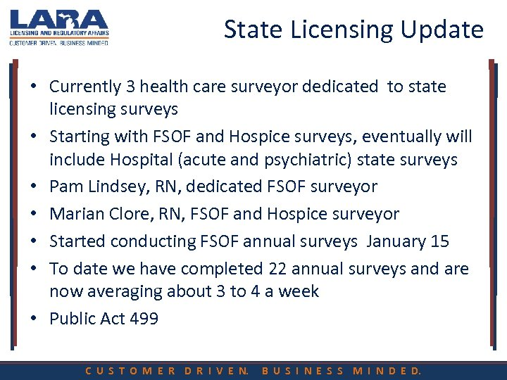 State Licensing Update • Currently 3 health care surveyor dedicated to state licensing surveys