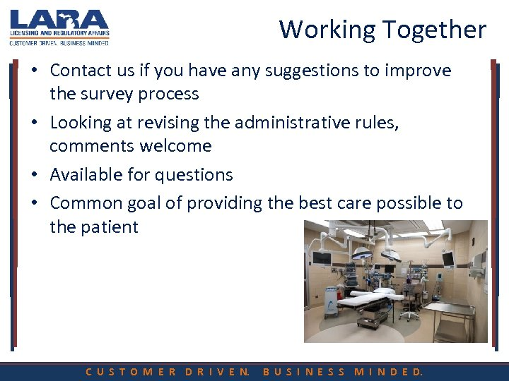 Working Together • Contact us if you have any suggestions to improve the survey