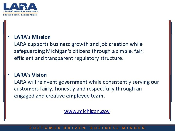 • LARA's Mission LARA supports business growth and job creation while safeguarding Michigan's