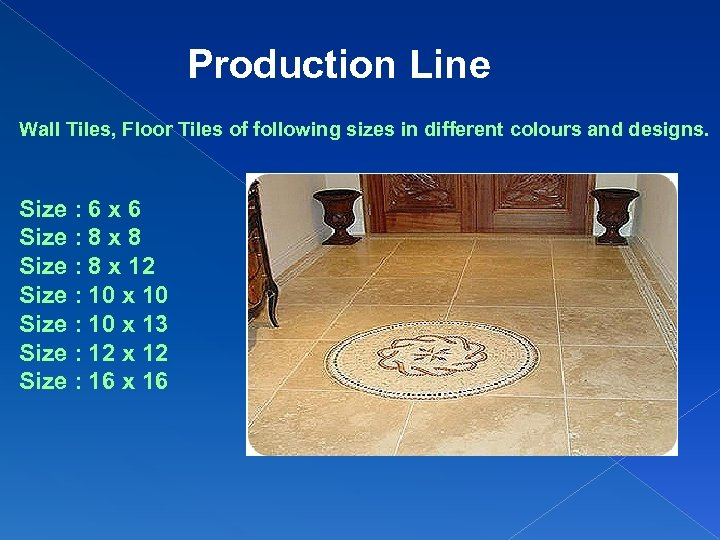 Production Line Wall Tiles, Floor Tiles of following sizes in different colours and designs.