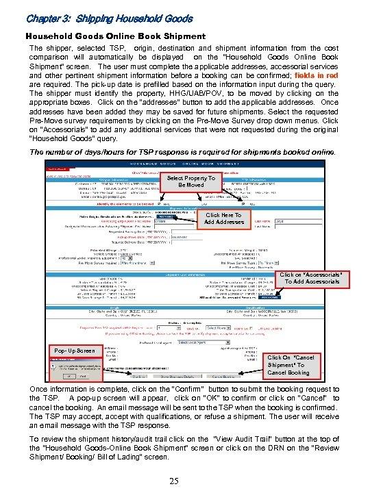 Chapter 3: Shipping Household Goods Online Book Shipment The shipper, selected TSP, origin, destination