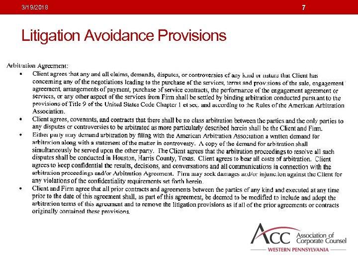 3/19/2018 Litigation Avoidance Provisions 7
