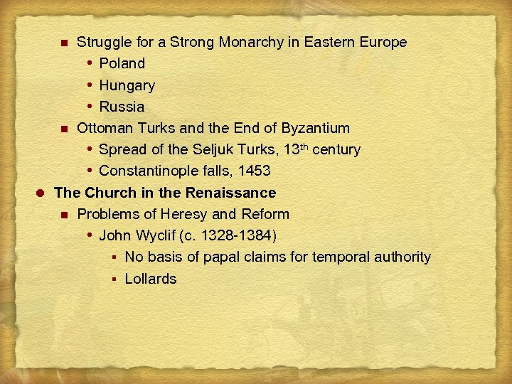 Struggle for a Strong Monarchy in Eastern Europe Poland Hungary Russia n Ottoman Turks