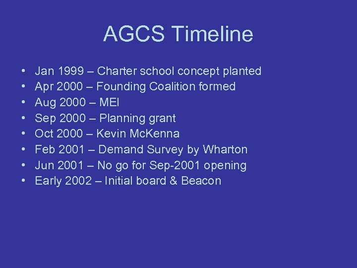 AGCS Timeline • • Jan 1999 – Charter school concept planted Apr 2000 –