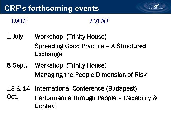 CRF's forthcoming events DATE EVENT 1 July Workshop (Trinity House) Spreading Good Practice –