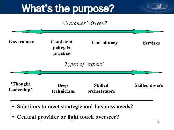 What's the purpose? 'Customer'-driven? Governance Consistent policy & practice Consultancy Services Types of 'expert'