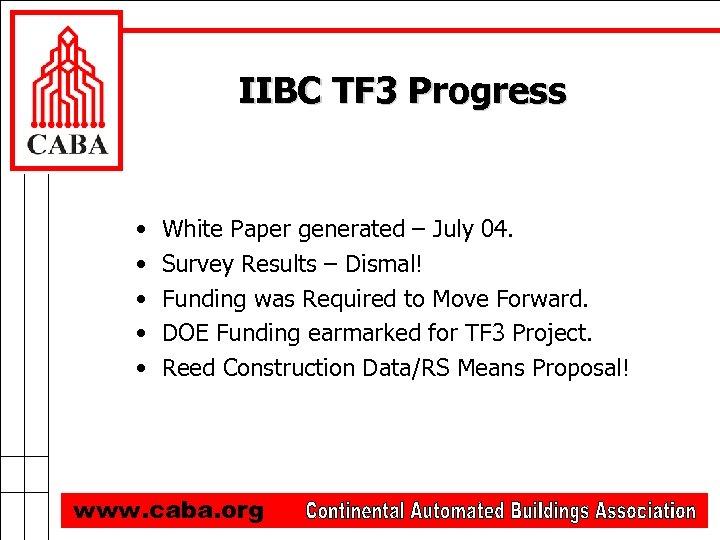 IIBC TF 3 Progress • • • White Paper generated – July 04. Survey