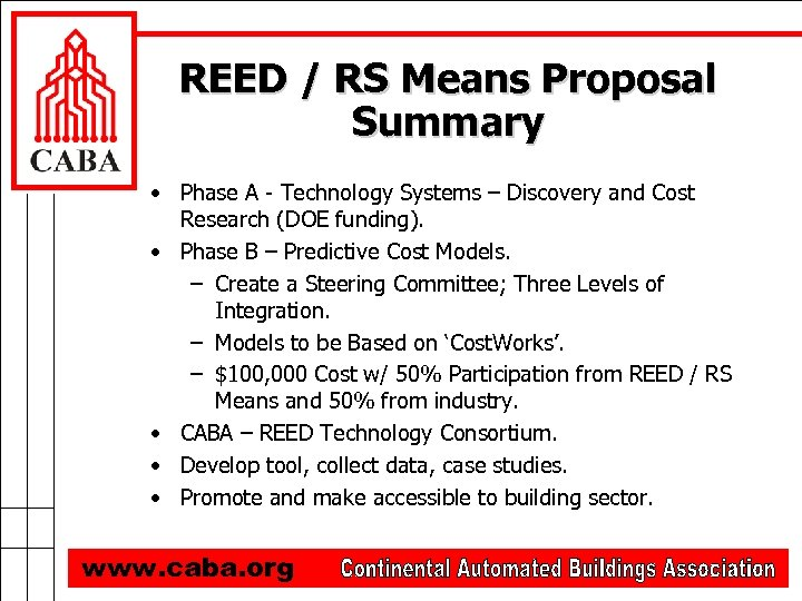 REED / RS Means Proposal Summary • Phase A - Technology Systems – Discovery