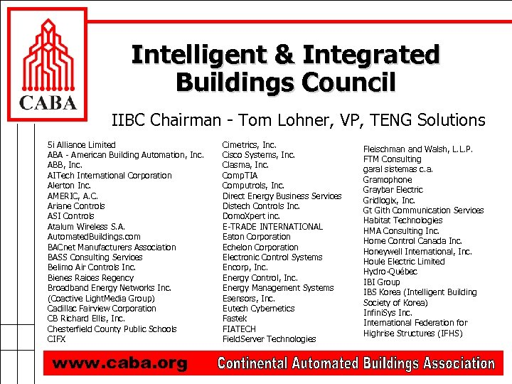 Intelligent & Integrated Buildings Council IIBC Chairman - Tom Lohner, VP, TENG Solutions 5