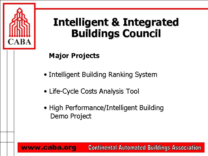 Intelligent & Integrated Buildings Council Major Projects • Intelligent Building Ranking System • Life-Cycle