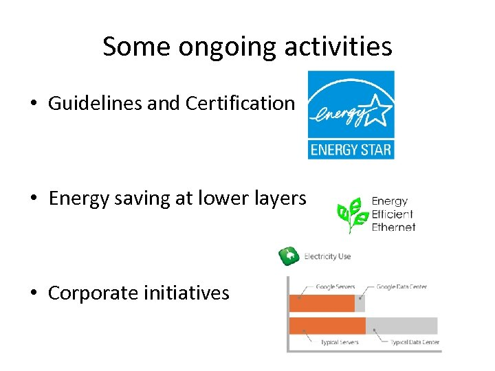Some ongoing activities • Guidelines and Certification • Energy saving at lower layers •