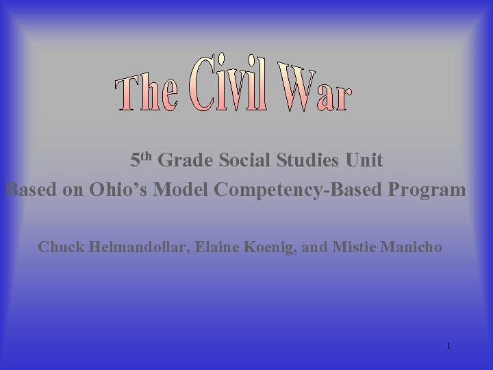 5 th Grade Social Studies Unit Based on Ohio's Model Competency-Based Program Chuck