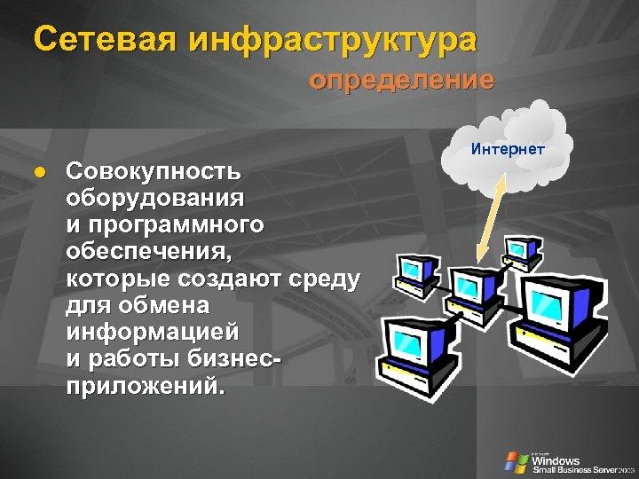 Сетевая инфраструктура определение Совокупность оборудования и программного обеспечения, которые создают среду для обмена информацией