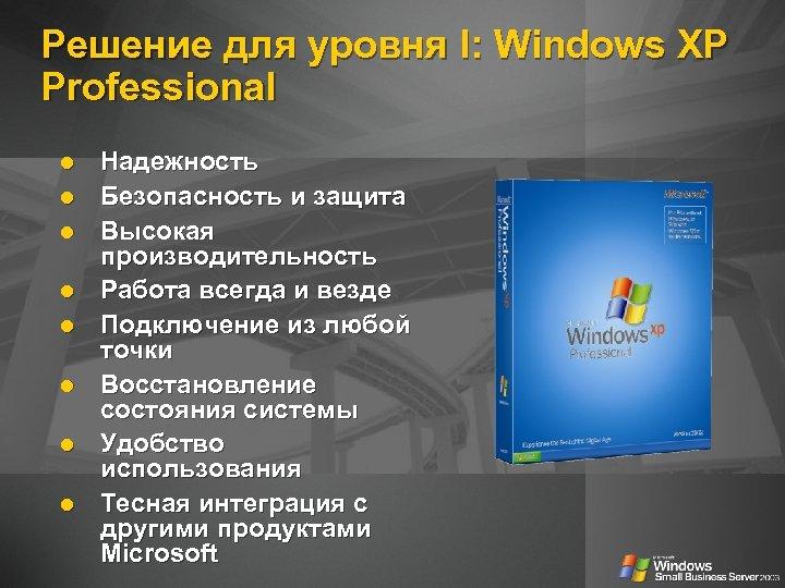Решение для уровня I: Windows XP Professional Надежность Безопасность и защита Высокая производительность Работа
