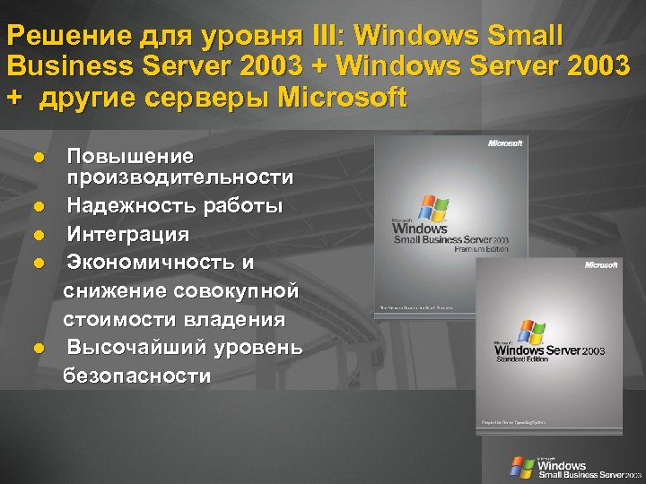Решение для уровня III: Windows Small Business Server 2003 + Windows Server 2003 +