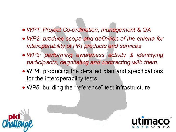 · WP 1: Project Co-ordination, management & QA · WP 2: produce scope and
