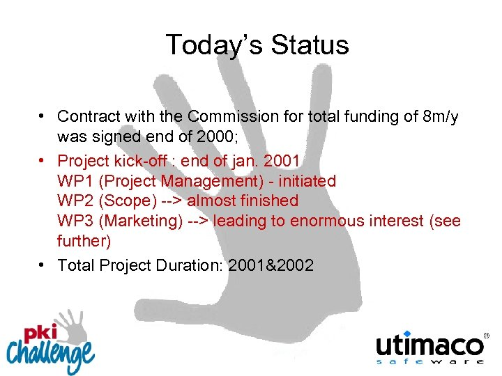 Today's Status • Contract with the Commission for total funding of 8 m/y was