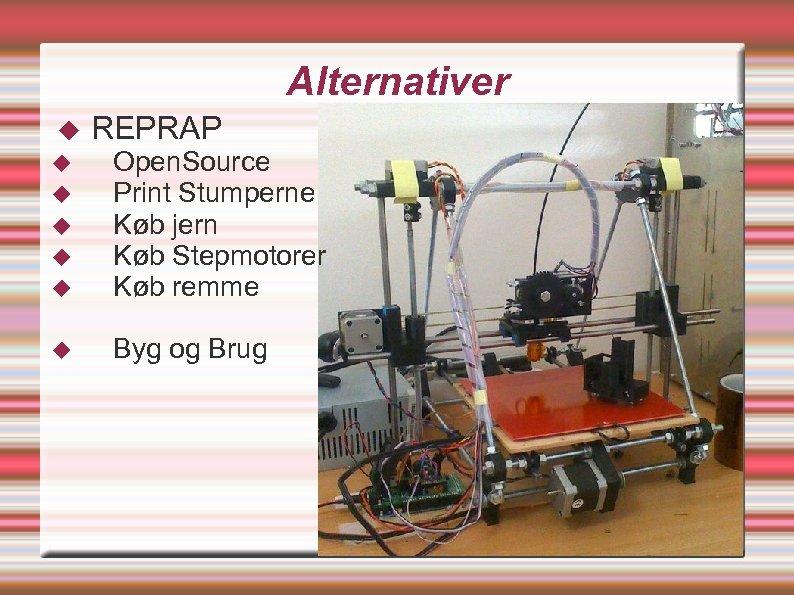 Alternativer REPRAP Open. Source Print Stumperne Køb jern Køb Stepmotorer Køb remme Byg og