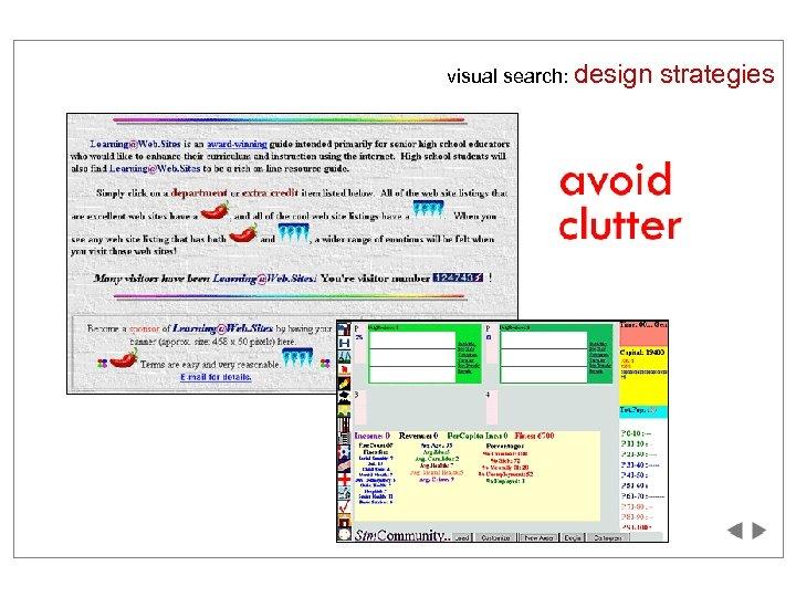 visual search: design strategies
