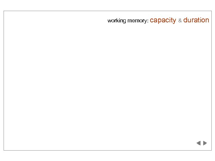 working memory: capacity & duration hgniy