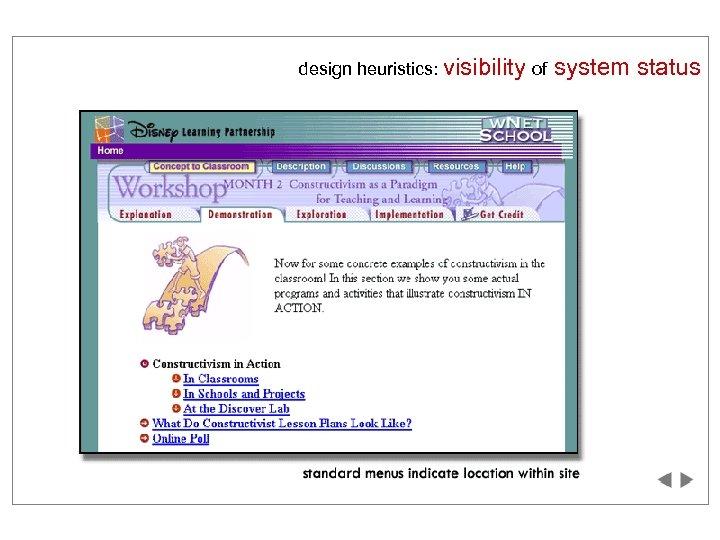 design heuristics: visibility of system status