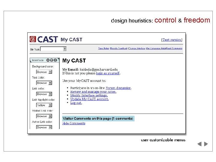 design heuristics: control & freedom