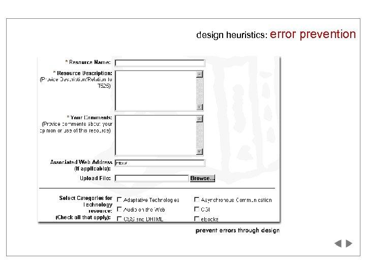 design heuristics: error prevention