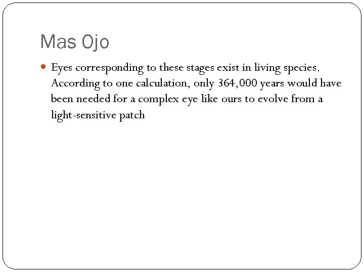Mas Ojo Eyes corresponding to these stages exist in living species. According to one