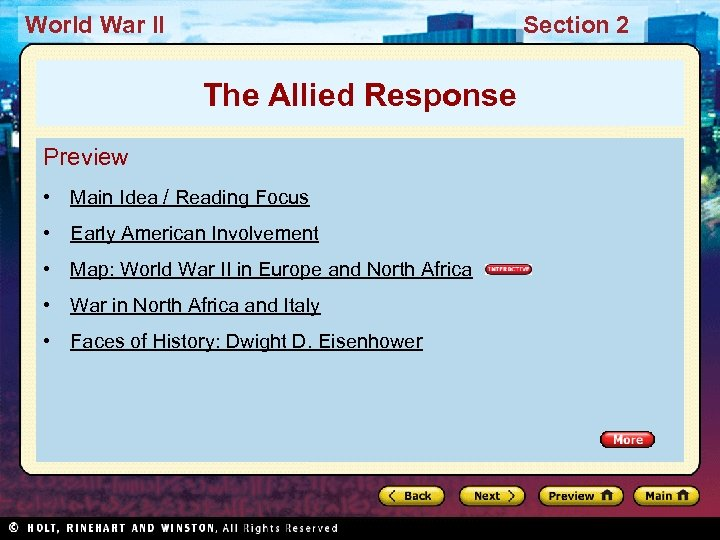 World War II Section 2 The Allied Response Preview • Main Idea / Reading