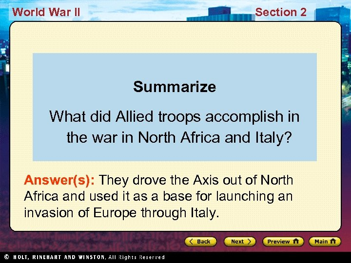 World War II Section 2 Summarize What did Allied troops accomplish in the war