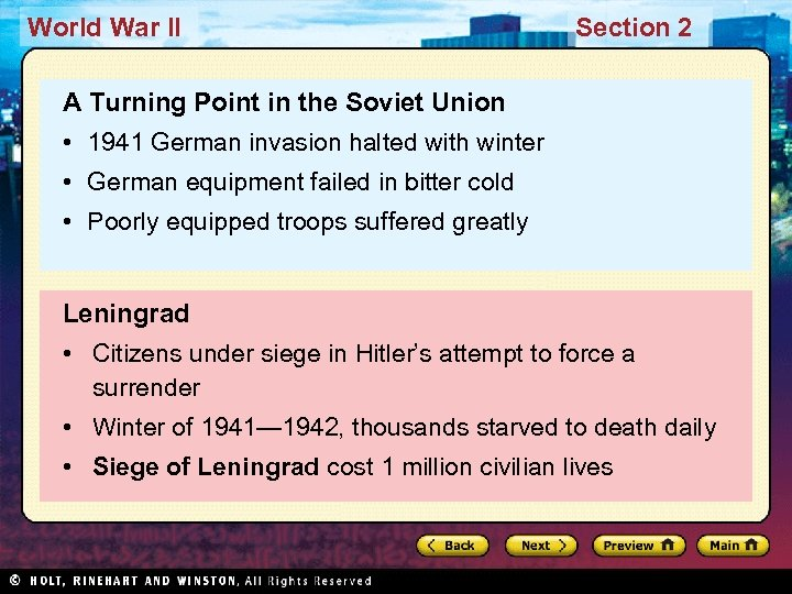 World War II Section 2 A Turning Point in the Soviet Union • 1941