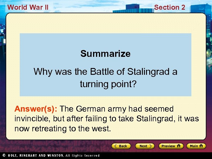 World War II Section 2 Summarize Why was the Battle of Stalingrad a turning
