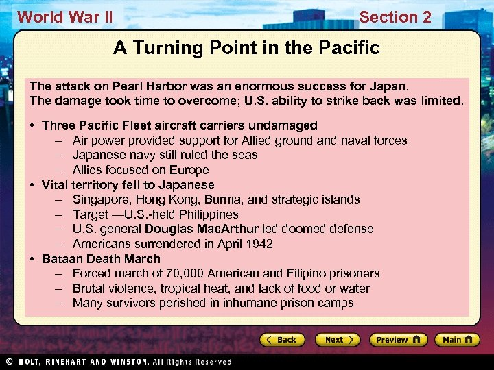 World War II Section 2 A Turning Point in the Pacific The attack on