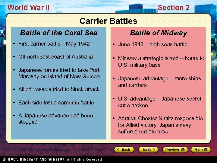 World War II Section 2 Carrier Battles Battle of the Coral Sea Battle of