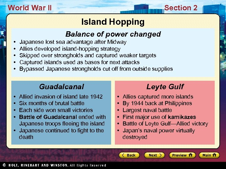 World War II Section 2 Island Hopping Balance of power changed • • •