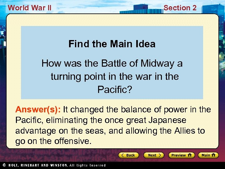 World War II Section 2 Find the Main Idea How was the Battle of