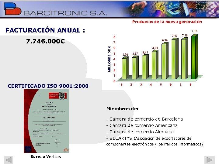 Productos de la nueva generación FACTURACIÓN ANUAL : 7. 746. 000€ CERTIFICADO ISO 9001: