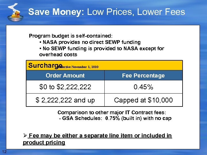 Save Money: Low Prices, Lower Fees Program budget is self-contained: • NASA provides no