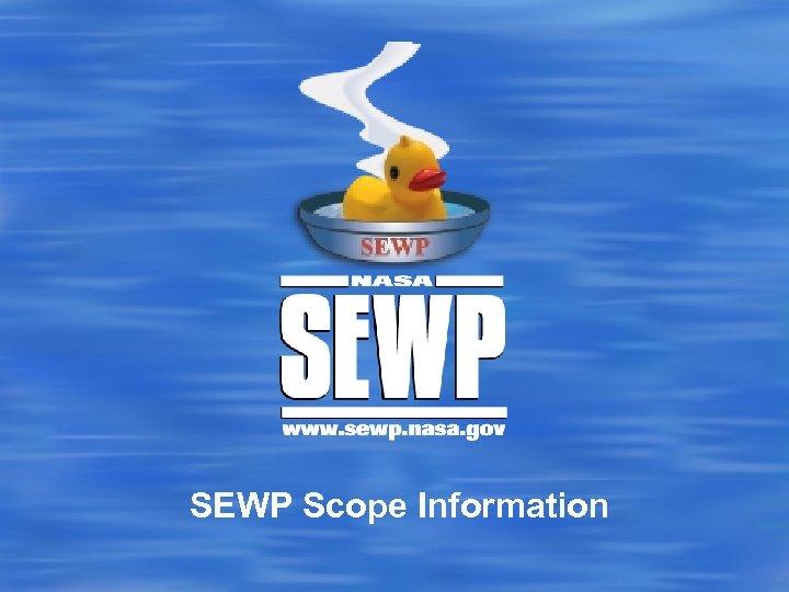 SEWP Scope Information