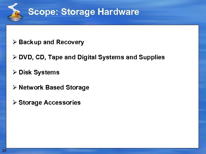 Scope: Storage Hardware Ø Backup and Recovery Ø DVD, CD, Tape and Digital Systems
