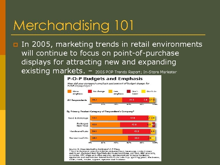 Merchandising 101 p In 2005, marketing trends in retail environments will continue to focus